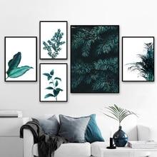 אורן עלים קקטוס שן הארי בוטני הדפסי קיר אמנות בד ציור נורדי והדפסי קיר תמונות לסלון