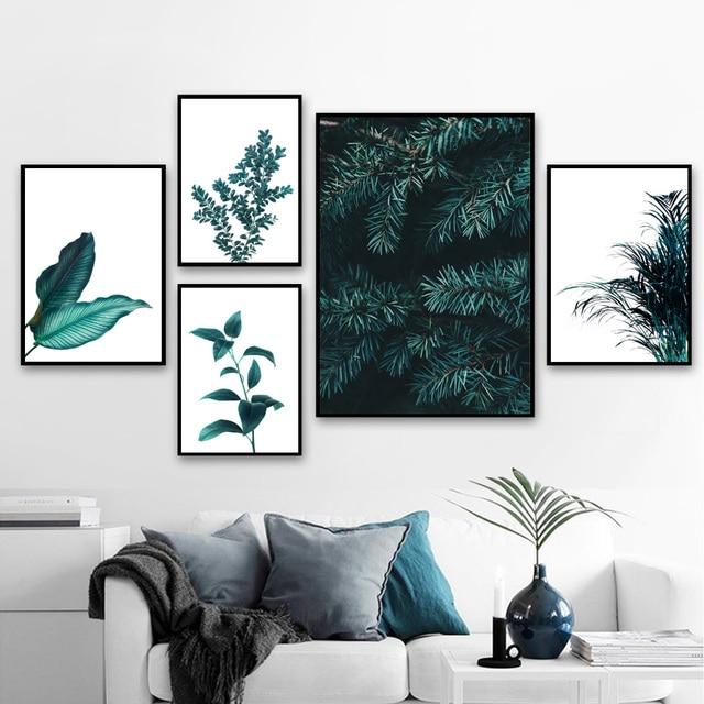 الصنوبر يترك الصبار الهندباء النباتية يطبع الرسم على لوحات القماش الجدارية الشمال الملصقات والمطبوعات جدار صور لغرفة المعيشة