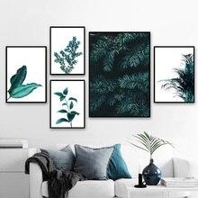 Folhas de pinheiro Cactus Leão Estampas Botânicas Nórdico Cartazes E Impressões Da Parede Da Pintura da Lona Arte Da Parede Pictures Para Sala de estar