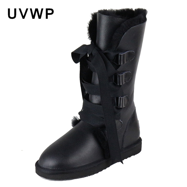 2017 Fashion Botas Mujer Genuine Sheepskin Leather Women's Snow Boots 100% Natural Fur Winter Boots Waterproof Women Long Boots