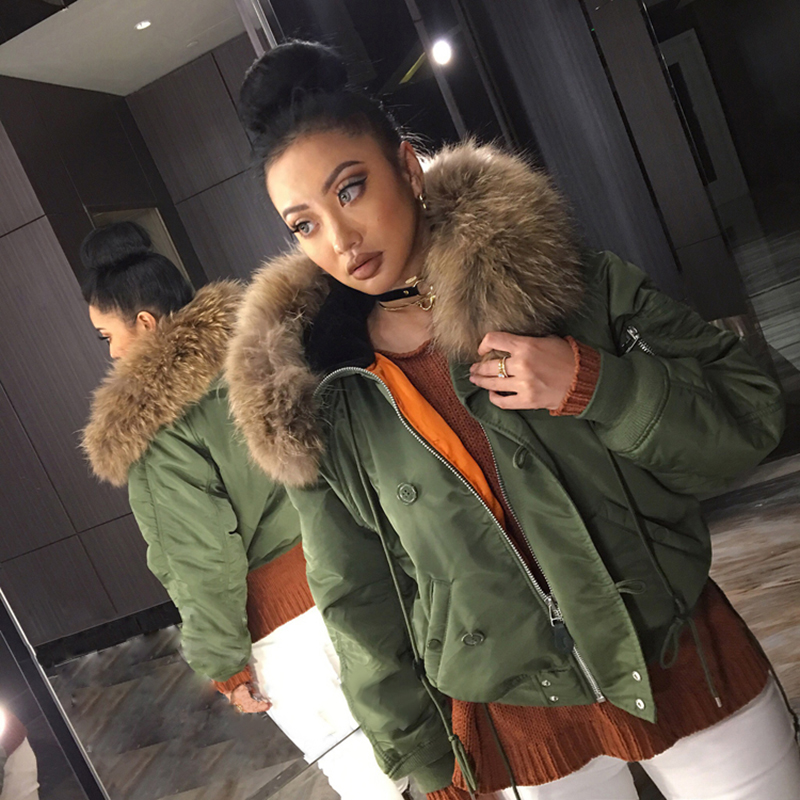 Fashion Woman Army Green Large Raccoon Fur Collar Hooded Coat Parkas Outwear Detachable Rabbit Fur Lining Women Winter Jacket