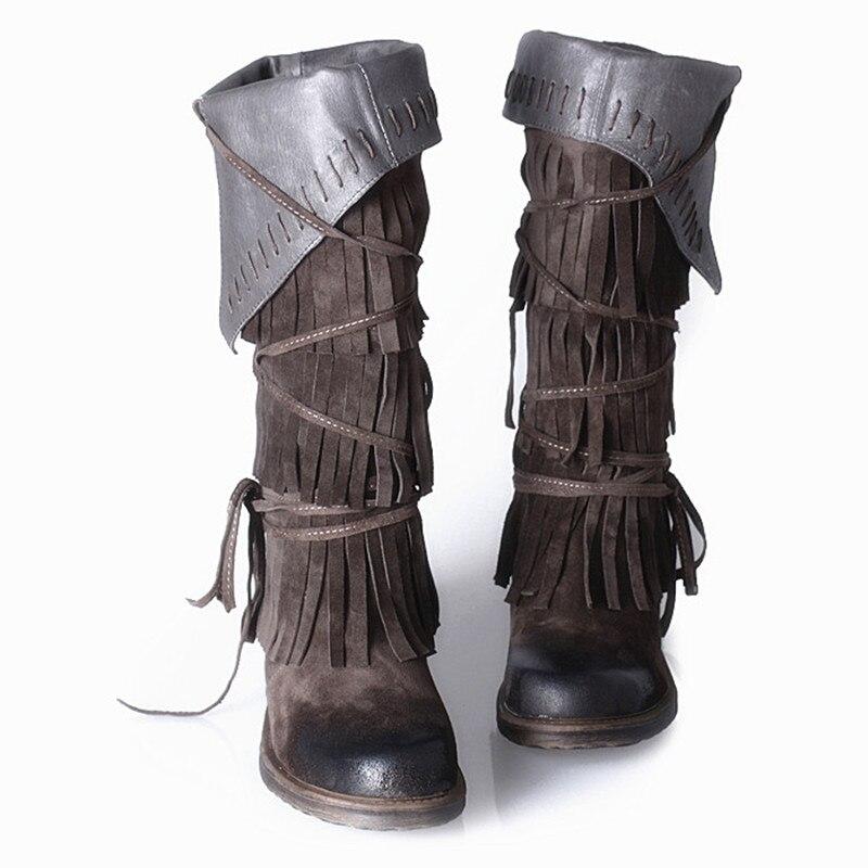 где купить 2017 Luxury Brand Botas Mujer Winter Sexy Overknee Thigh High Black Suede fringe Leather Boots Motorcycle Boot Shoes Woman по лучшей цене