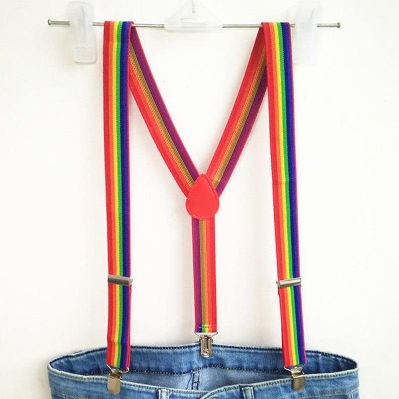 Unisex  Rainbow Striped Suspenders Mens Adjustable Clip-on Y-back Suspender Kids Pants Holder For Wedding BD014