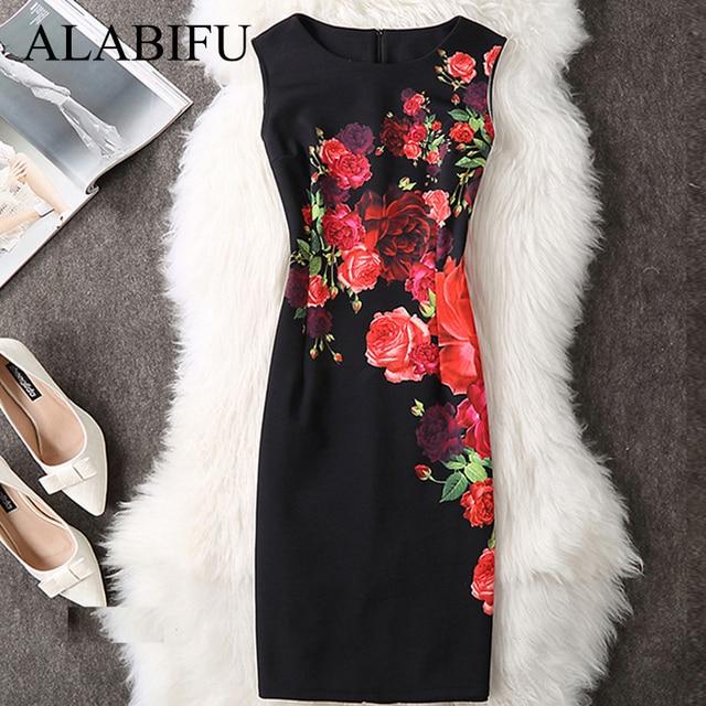 ALABIFU Women Summer Dress 2019 Plus Sizes 3XL 4XL Sexy Vintage Elegant Floral Evening Party Dress Office Bodycon Pencil Dresses