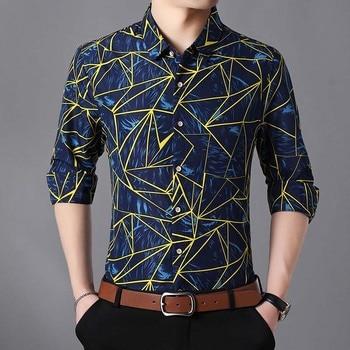 Men Fall 2018 Fashion New Men Shirt Cotton Long Sleeve Geometric Printed Shirts Big Size Camisa Social 5XL 6XL 7XL 1