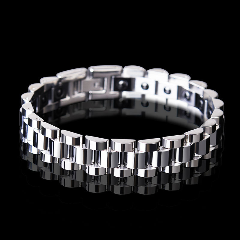 Man s Fashion Tungsten Chain Links with Black Magnets Stones Titanium Steel Silver Gold Two Colors