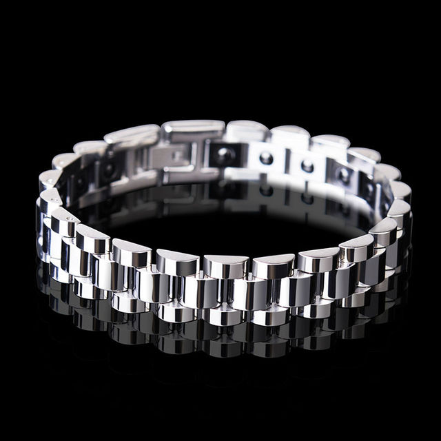 Man's Fashion Tungsten Chain Links with Black Magnets Stones Titanium Steel Silver/Gold Two Colors 20CM Length Free Shipping