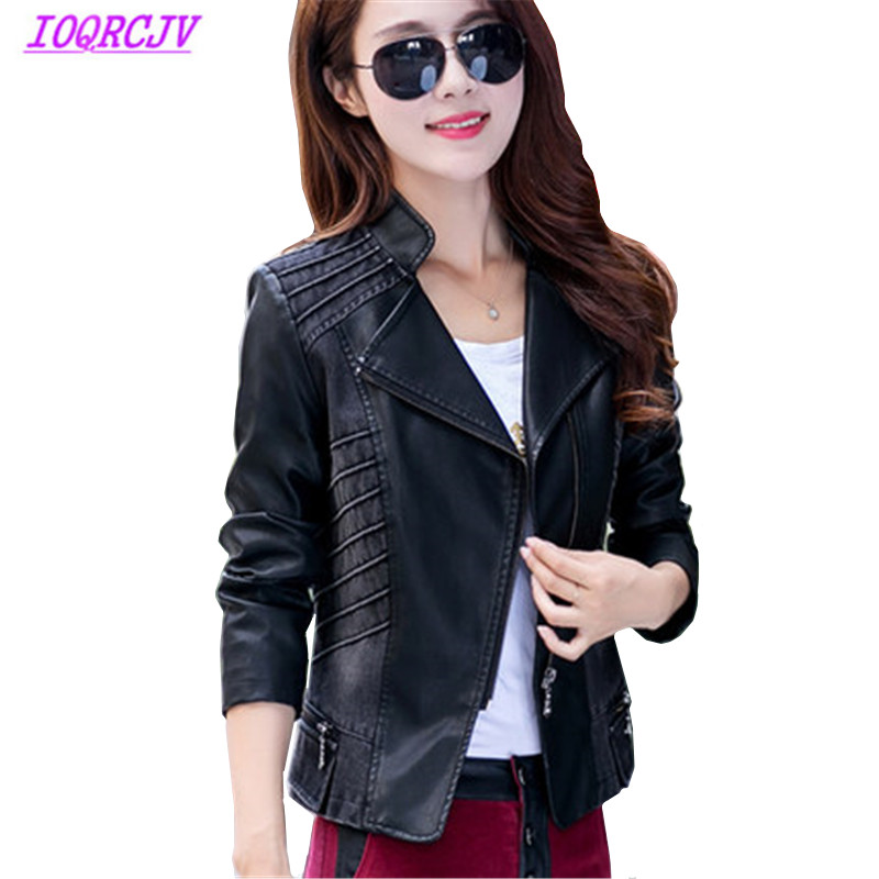 Women's Spring Denim PU Leather Stitching Jackets Plus size 5XL Short Outerwear Tops Slim Temperament Small Jacket IOQRCJV Q121