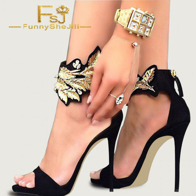 5e301f7aab7ef Black and Gold Evening Shoes Ankle Strap Stiletto Heels Suede Sandals  Generous Incomparable Elegant Generous Fashion FSJ Sexy