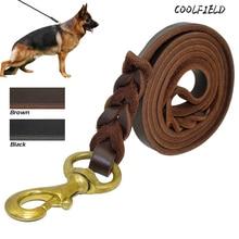Braided Real Leather Dog Leash Walking Training Leads for German Shepherd 1.2cm width 150cm-300cm