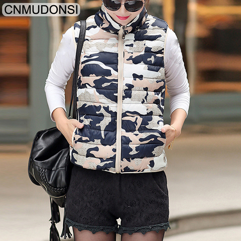84fe544282551 Women Jackets Spring Autumn Hooded Camouflage Vests Womens Winter  Sleeveless Jackets Camo Waistcoats Coats Plus Size Clothing XL-in Vests &  Waistcoats from ...