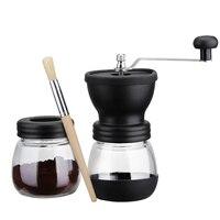 Moedor de café manual quente com frasco de armazenamento escova macia cônica cerâmica rebarba silencioso e portátil|Moedor de café manual| |  -