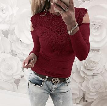 Sweet Lace T-Shirt Women Off The Shoulder Pink Slim Fit Tees Ladies 1