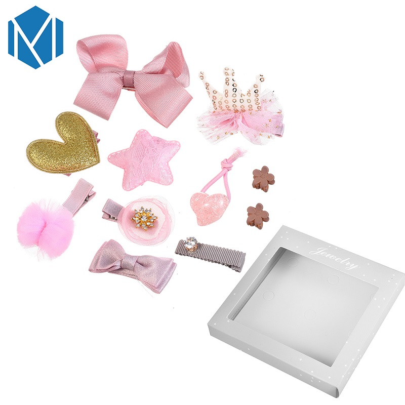 M MISM 1 Set=10Pcs Girls Hairgrips Mesh Yarn Hair Accessories With Box Children Tie Bow Crown Heart Party Birthday Headwear Set