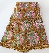 Золото розовый уникальный мягкий двойной органзы кружева африканский Handcut кружевной Ткань с большим количеством блесток 5 ярдов/pc