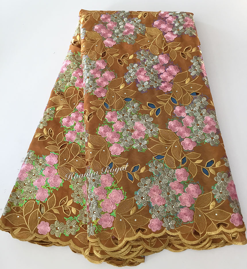 Gold Pink unique Soft Double Organza lace African handcut lace Fabric with lots of sequins 5 yards/ PC
