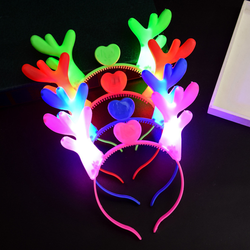 LED Light Up Toy Favor Party Pack Flashing Slotted Shades Antler headband glittery Christmas for Easter Egg Toys