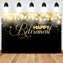 Happy Retirement Backdrop for Photography Party Banner Portrait Abstract Photo Background Golden Stars Shiny  Studio