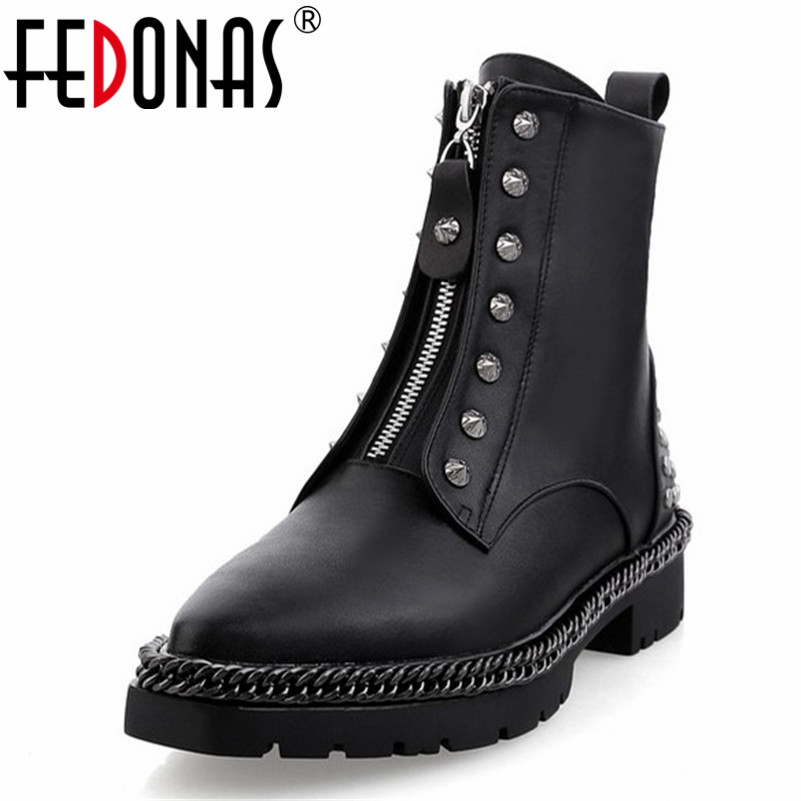 FEDONAS 2019 Punk Rock Women Ankle Boots Genuine Leather Rivets Autumn Winter Motorcycle Boots Round Toe Martin Shoes Woman women martin boots 2017 autumn winter punk style shoes female genuine leather rivet retro black buckle motorcycle ankle booties