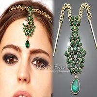Teardrop Emeral Crystal Bindi Hair Clip Chain Tikka Indian Head Piece Dancer Jewelry Party Free Shipping