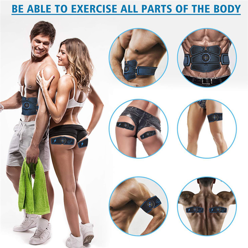 6pcs Wireless Muscle Stimulator Trainer Smart Fitness Abdominal Training Electric Weight Loss Stickers Body Slimming Belt Unisex