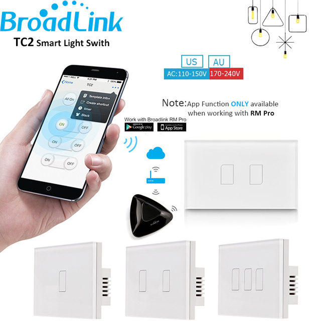 Broadlink TC2 US/AU Standard 1 2 3 Gang Home Automation WiFi Light Switch 110-240V Touch Panel Remote Control by RM2 RM Pro
