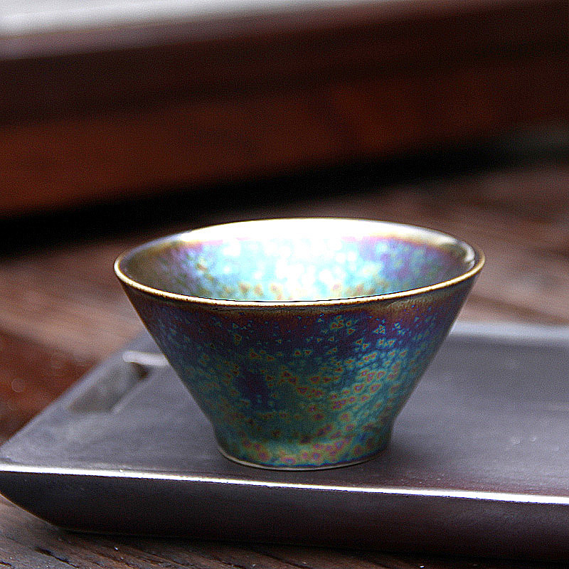 Colorful Temmoku Glaze Teacup 2