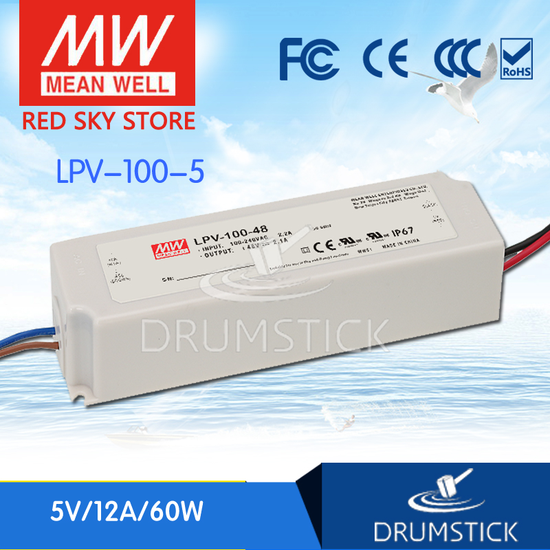 Selling Hot MEAN WELL LPV-100-5 5V 12A meanwell LPV-100 5V 60W Single Output LED Switching Power Supply genuine mean well lpv 100 15 15v 6 7a meanwell lpv 100 15v 100 5w single output led switching power supply