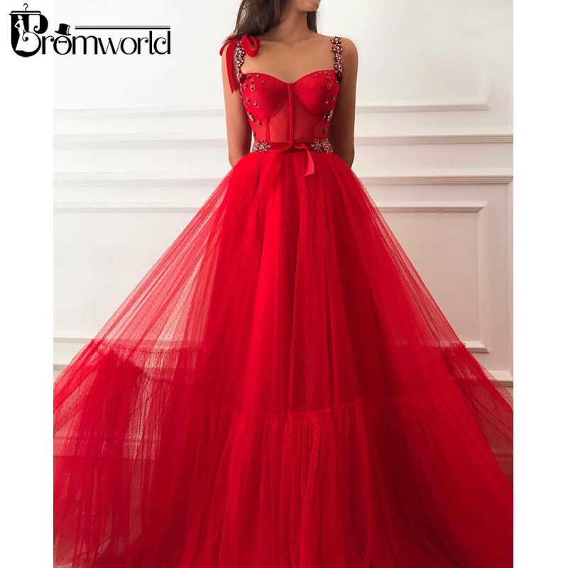 Red Muslim Evening Dresses 2020  A-Line Beaded Straps Sweetheart Tulle Islamic Dubai Saudi Arabic Long Evening Gowns Prom Dress