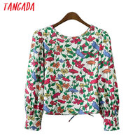 Tangada Women Floral Print Blouse Shirt Sexy Back Bow Tie Hollow Out O-Neck Long Sleeve Shirts Blusas Casual Brand Tops XD151