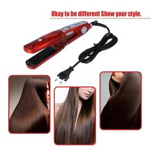 65W Electric Steam Hair Straightener Steam Comb Straightening Hair Irons Straight Hair Brush Temperature Display EU Plug