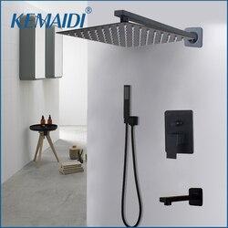 KEMAIDI Bad 2-weg LED Dusche Wasserhahn Set Schwarz 3-Funktionen 8 12 16 LED Dusche Kopf Mixer tap W/Regen Hand Dusche Armaturen