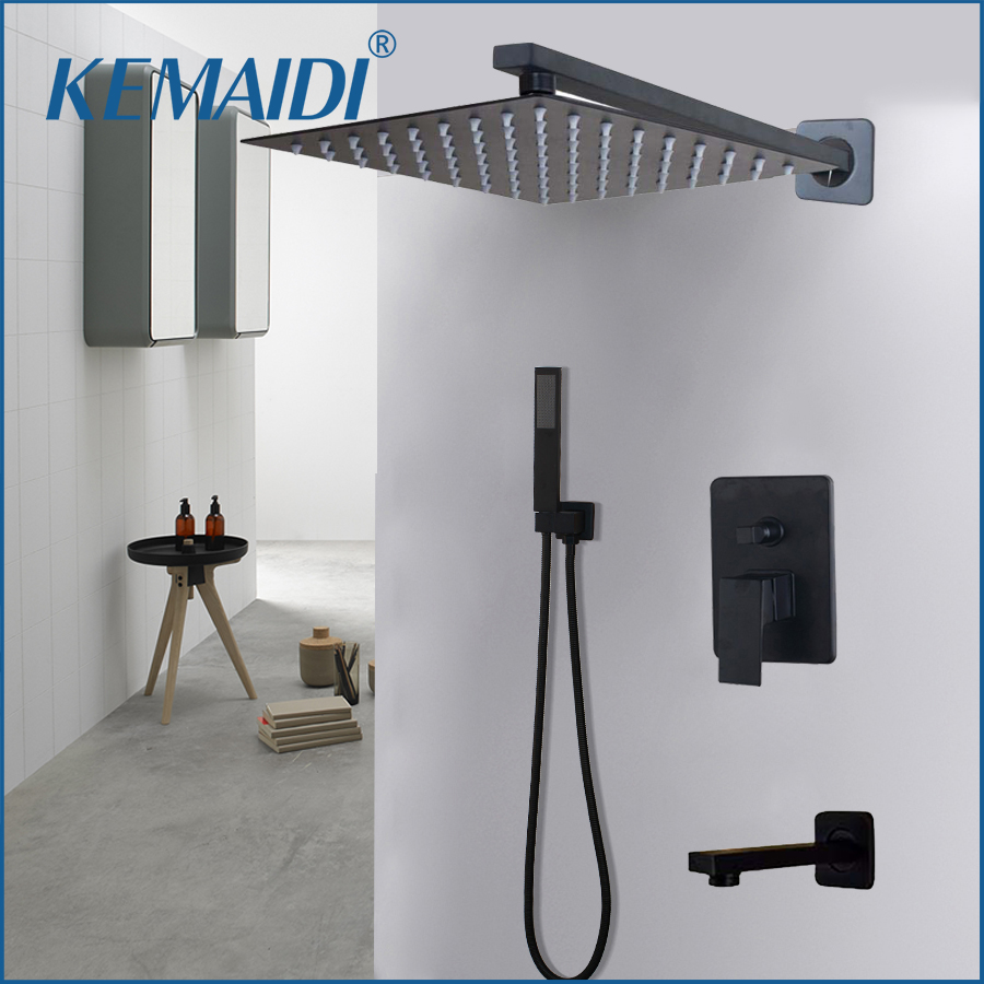 KEMAIDI Bathroom 2-way LED Shower Faucet Set Black 3-Functions 8 12 16 LED Shower Head Mixer Tap W/ Rainfall Hand Shower Faucets