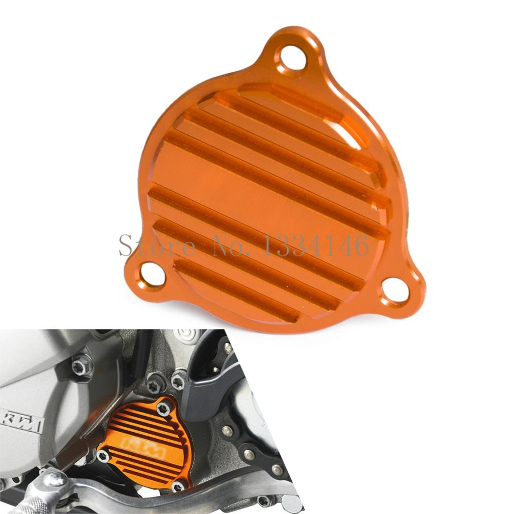 CNC Oil Filter Cover Motorcycle Oil Pump Cover For KTM 250 350 450 500 530 SXF EXCF XCF SMR XCW EXC SIX DAYS FREERIDE 350 08-16 orange cnc billet factory oil filter cover for ktm sx exc xc f xcf w 250 400 450 520 525 540 950 990