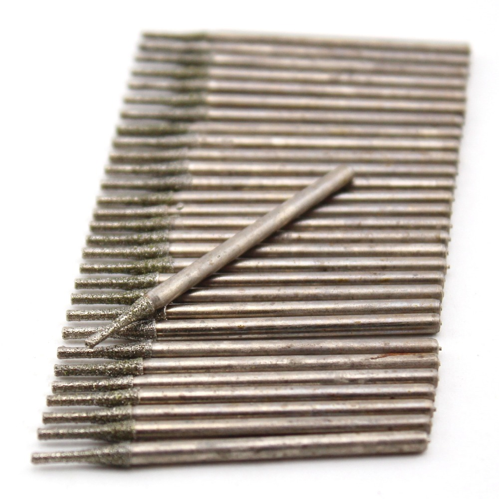 30Pcs 0.4-2.0mm Lapidary Diamond Drill Bits Coated Small Carving Burrs Micro Masonry Drilling Jewelry Tools For Gem Stone Marble