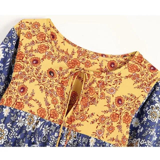 TEELYNN boho dress 2019 Polyester blue floral print dresses long sleeve long dress tassel loose women dresses Sukienka vestido