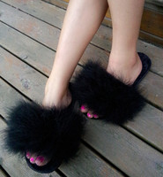 9 Colors Fur Flip Flops Women Sweet Platform Wedges Sandals Ostrich Feathers Slippers 2017 Summer Platform