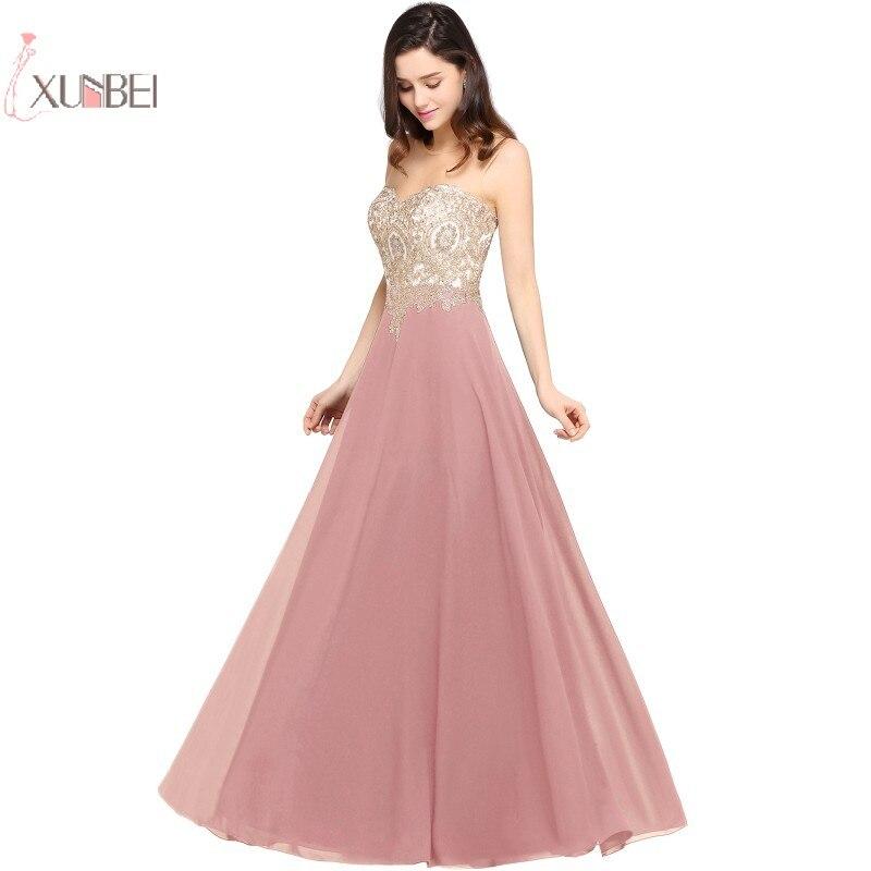 2019 élégant poussiéreux rose en mousseline de soie longue robe de soirée sans manches dentelle Applique robe de soirée