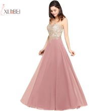 купить 2019 Elegant Dusty Pink Chiffon Long Evening Dress Sleeveless Lace Applique Gown robe de soiree по цене 3190.78 рублей