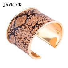 Wild Punk Leopard Print Horse Hair Leather Wide Cuff Bracelets Statement Jewelry