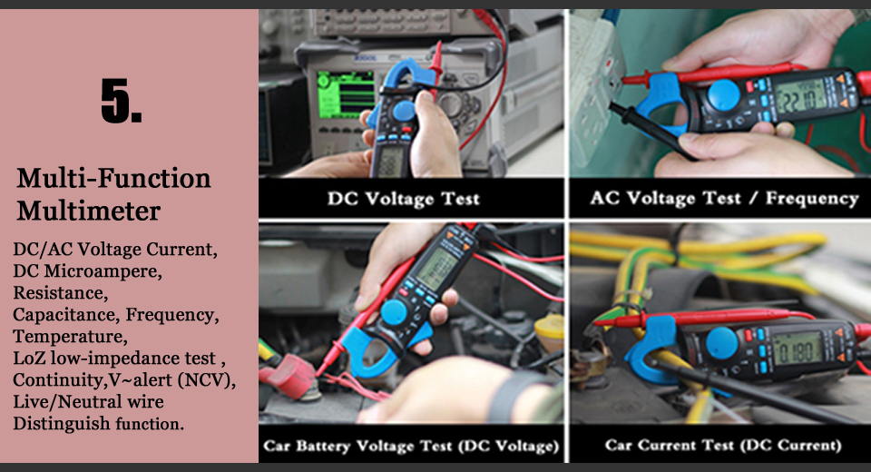 Mini Digital AC/DC Current Clamp Meter With True RMS Measurement And Auto Range Feature For Car Repair 15