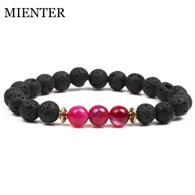 Natural Line Stone Lava stone Bracelet men women Friendship Bracelets MIENTER Fashione Selling
