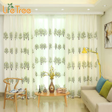 Green Tree Embroidered Korean Curtains for Bedroom Living Room Window Blackout Faux Linen Curtain for Kids