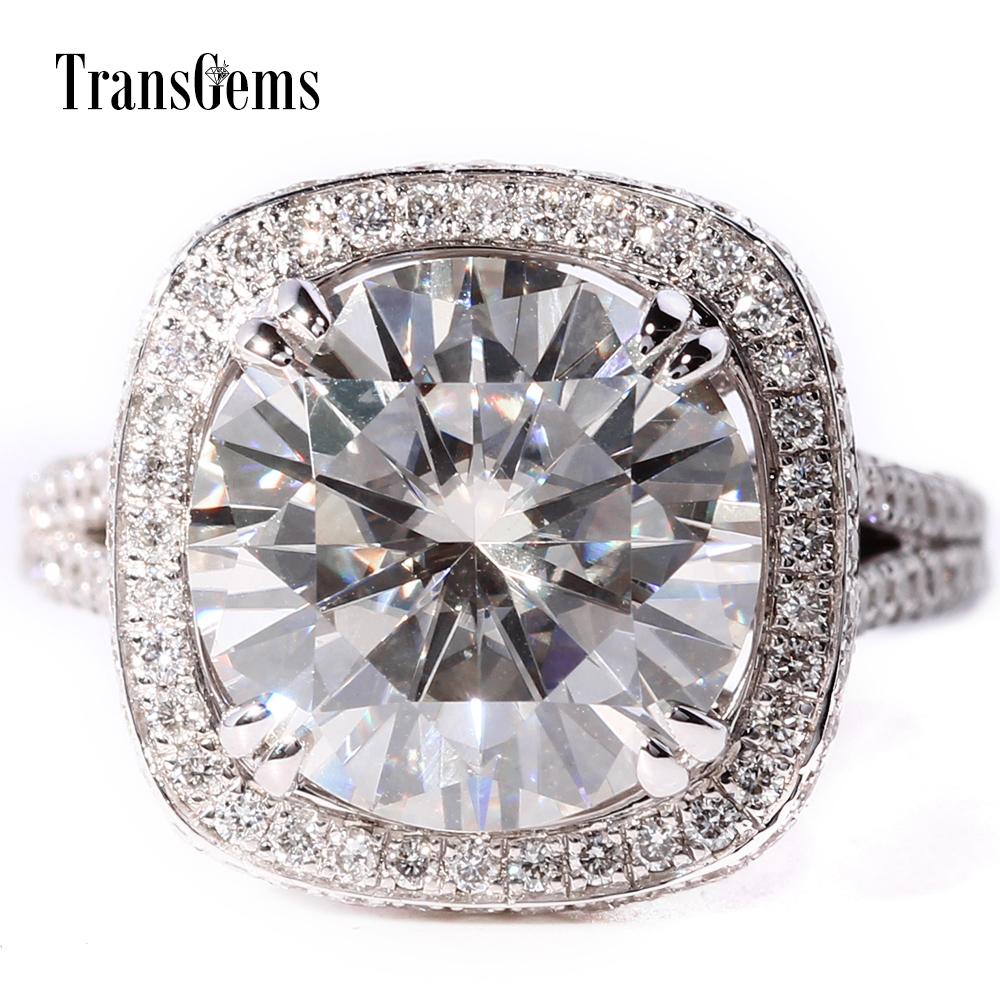 TransGems 5 Carat Lab Grown Moissanite Diamond Wedding Engagement Ring with Lab Diamond Accents Solid 14K White Gold for Women transgems 1 carat lab grown moissanite diamond band moissanite accents wedding engagement ring solid 14k white gold for men
