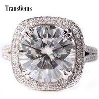 TransGems 5 Карат Лаборатории Grown Муассанит алмаз обручальное Обручение кольцо с лабораторной алмаз акценты Твердые 14 K White Gold для Для женщин