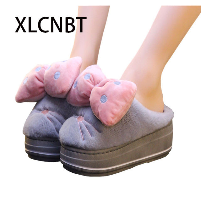 c06b727cd lovely bowknot slipper 2018 cotton-slipper female thick bottom winter high  heel indoor residence home