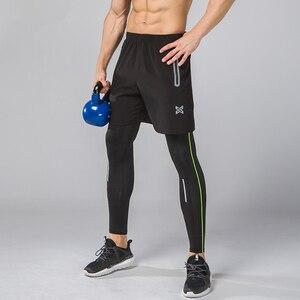 Image 2 - 2Pcs Men Running Tights Shorts Pants Sport Clothing Soccer Leggings Compression Fitness Football Basketball Tights Zipper Pocket