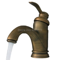Antique Brass Bathroom Basin Faucet / Deck Mounted Retro Style Single Handle Vessel Sink Mixer Taps Wnf101