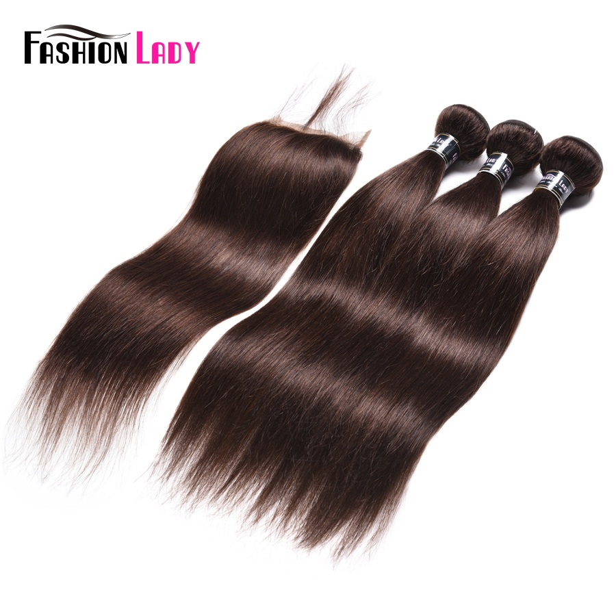 Fashion Lady Pre-Colored 3 Bundles With Lace Closure 2# Natural Brown Color Indian Straight Human Hair Products Non-Remy Hair