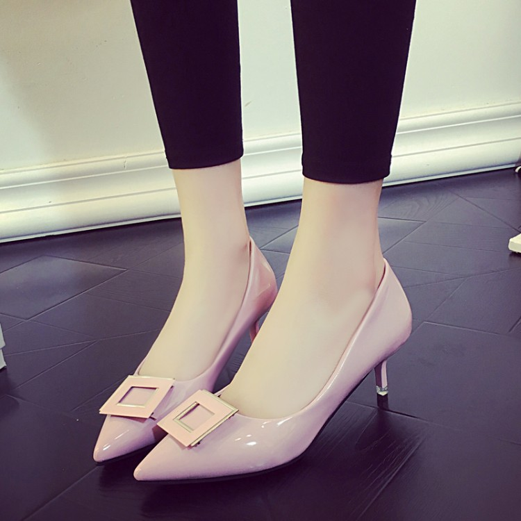 2016 new black <font><b>patent</b></font> leather work shoes with thin shoes in the shallow with thin sexy <font><b>nude</b></font> color high-heeled shoes